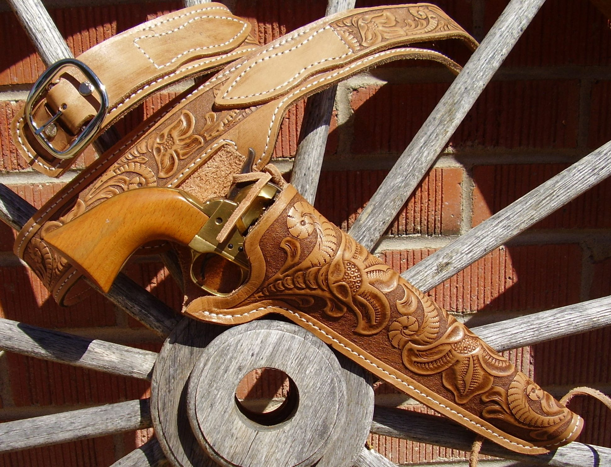 Hand tooled leather - Western style holsters, belts, rifle